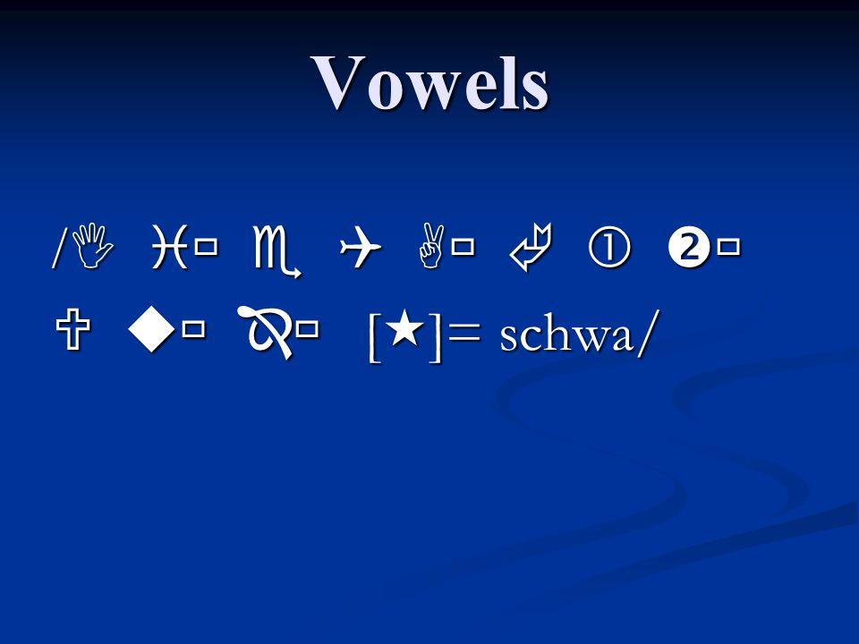 Vowels /           []= schwa/